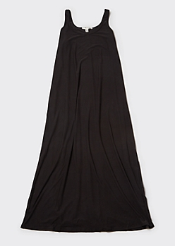Plus Black Sleeveless Side Slit Maxi Dress