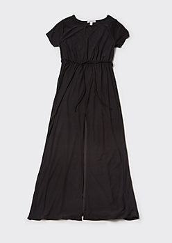 Plus Black Cutout Front Slit Maxi Dress