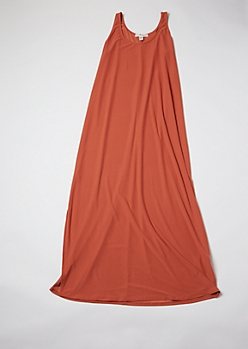 Plus Orange Sleeveless Side Slit Maxi Dress