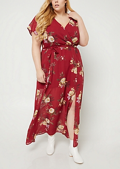 Plus Burgundy Floral Print Chiffon Maxi Dress