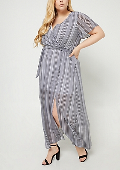 Plus Black Stripe Pattern Chiffon Maxi Dress