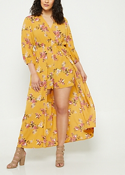 Plus Dark Yellow Floral Print Maxi Romper