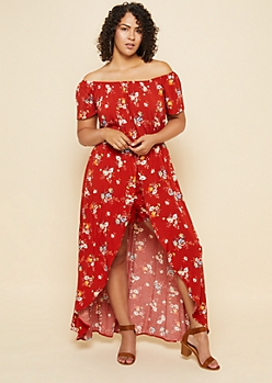 Plus Red Floral Print Short Sleeve Off Shoulder Maxi Romper