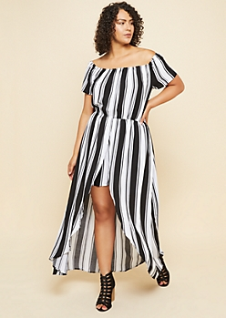 Plus Black Striped Short Sleeve Off Shoulder Maxi Romper
