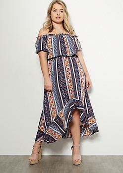 Plus Navy Border Print Flounce High Low Maxi Dress