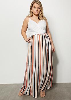 Plus Coral Striped Lace Top Maxi Dress