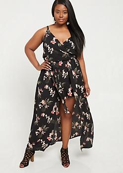Plus Black Floral Print Cami Strap Maxi Romper