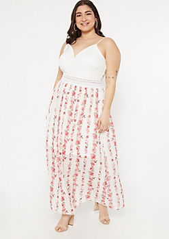 Plus Ivory Rose Print Crochet V Neck Maxi Dress