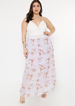 Plus Purple Rose Print Crochet V Neck Maxi Dress