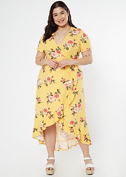 Plus Yellow Floral Print Super Soft Ruffle Trim Maxi Dress