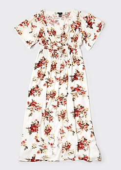 Plus Ivory Floral Print Button Down Versatile Maxi Dress