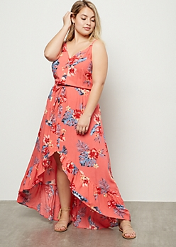 Plus Coral Tropical Print Ruffle High Low Maxi Dress