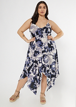 Plus Navy Tie Dye V Neck Handkerchief Hem Dress