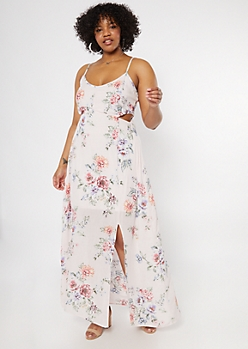 Plus Pink Floral Print Cutout Maxi Dress