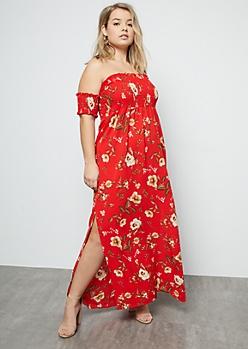 Plus Red Floral Print Smocked Side Slit Maxi Dress