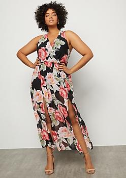 Plus Black Floral Print Surplice Side Slit Maxi Dress