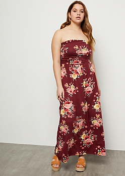 Plus Burgundy Floral Print Super Soft Ruched Maxi Dress