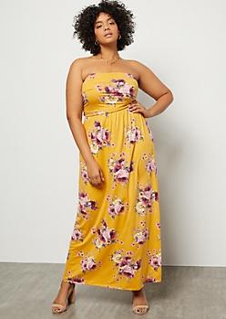 Plus Mustard Floral Print Super Soft Ruched Maxi Dress