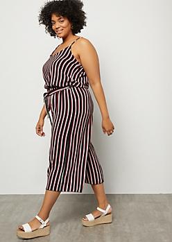 Plus Hot Pink Striped Tie Waist Wide Leg Jumpsuit