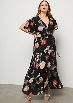 Plus Black Floral Print Tie Front Surplice Maxi Dress