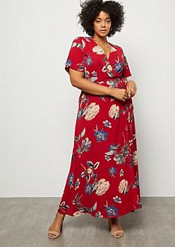 Plus Dark Red Floral Print Tie Front Surplice Maxi Dress