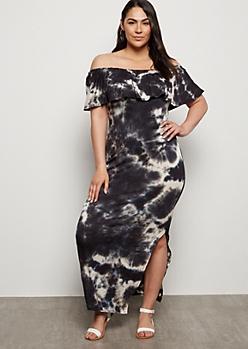 Plus Gray Tie Dye Off The Shoulder Maxi Dress
