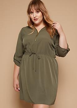 Plus Olive Tab Sleeve Zipper Shirt Dress