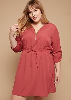 Plus Dark Pink Tab Sleeve Zipper Shirt Dress
