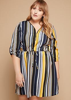 Plus Yellow Striped Tab Sleeve Zipper Shirt Dress