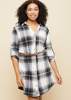 Plus Ivory Plaid Print Super Soft Belted Shirt Dress