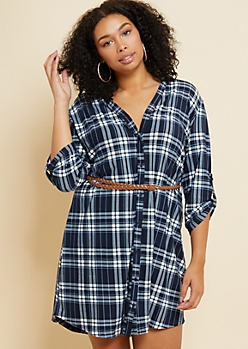 Plus Blue Plaid Print Super Soft Belted Shirt Dress