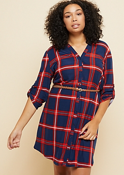 Plus Red Plaid Print Super Soft Belted Shirt Dress