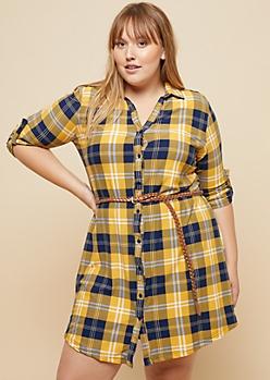 Plus Mustard Plaid Print Super Soft Belted Shirt Dress