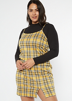 Plus Yellow Plaid Mini Slip Dress