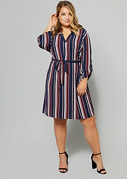 Plus Navy Striped Rolled Tab Sleeve V Neck Shirt Dress