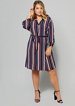 Plus Navy Striped Rolled Tab Sleeve V Neck Shirt Dress