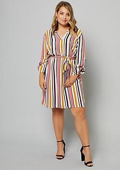 Plus White Striped Roll Tab Sleeve V Neck Dress