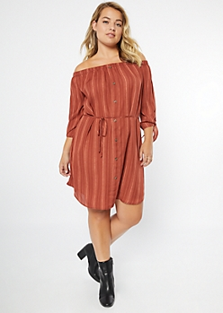 Plus Burnt Orange Striped Tie Sleeve Dress