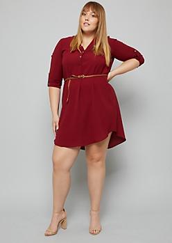 Plus Burgundy Tab Sleeve V Neck Shirt Dress
