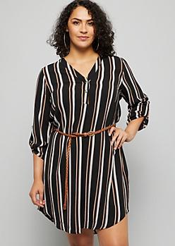 Plus Black Striped Tab Sleeve V Neck Shirt Dress