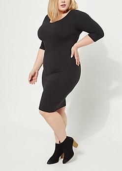 Plus Black Soft Knit Bodycon Midi Dress