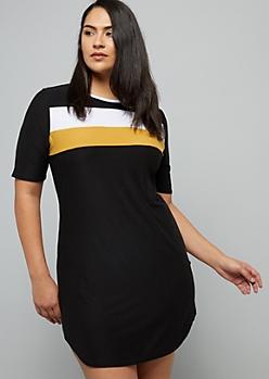 Plus Black Colorblock Super Soft Ringer Mini Dress