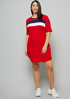 Plus Red Colorblock Super Soft Mini Dress