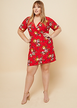 Plus Red Floral Print Wrap Skater Dress