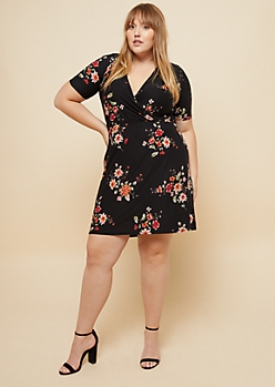 Plus Black Floral Print Wrap Skater Dress