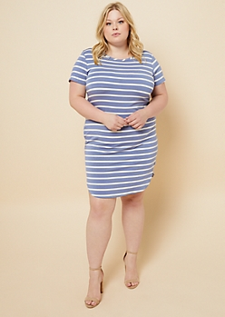 Plus Light Blue Striped Cap Sleeve T Shirt Dress