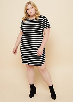 Plus Black Striped Cap Sleeve T Shirt Dress