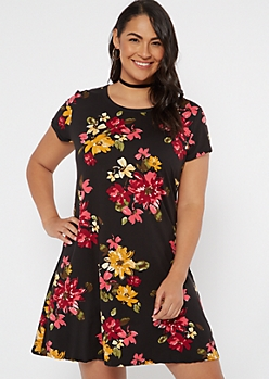 Plus Black Floral Super Soft Dress