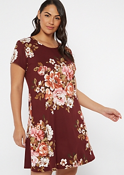 Plus Burgundy Floral Super Soft Dress