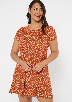 Plus Burnt Orange Floral Super Soft Dress